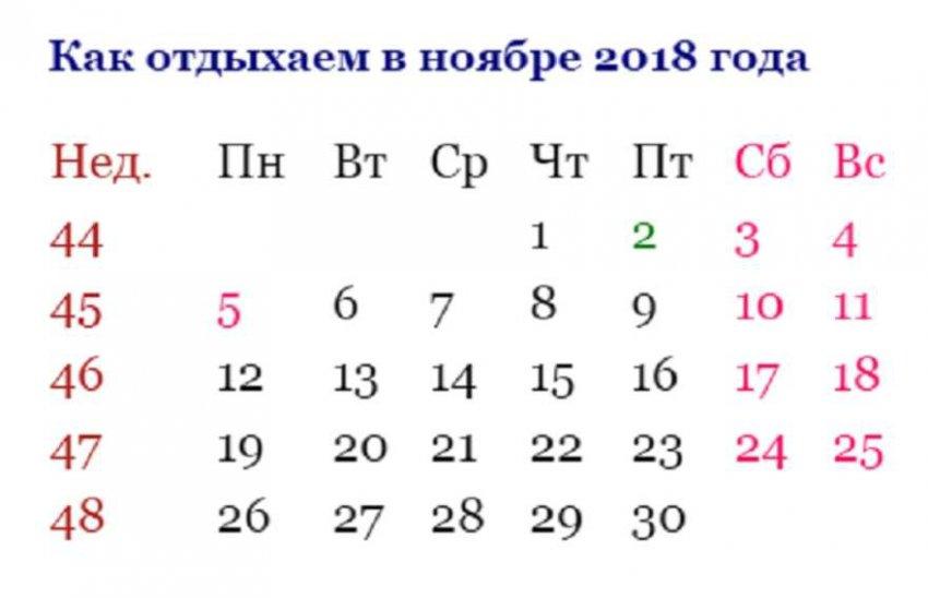 Выходные в ноябре 2018: как отдыхаем в ноябре 2018 года