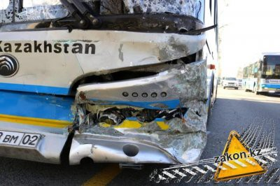 В Алматы произошло массовое ДТП с участием автобуса