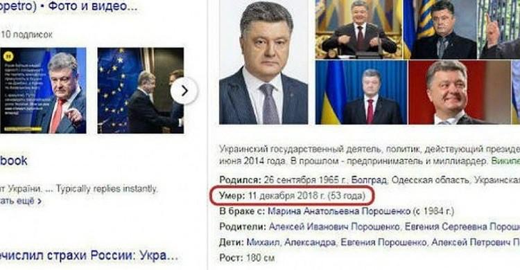 Откуда в Яндексе появилась дата смерти Порошенко