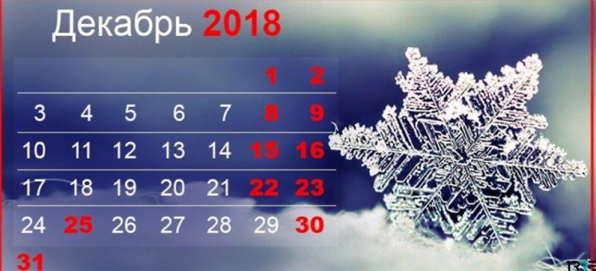 Выходной день с субботы 29 декабря 2018 года переносится на понедельник 31 число