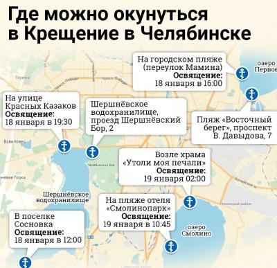 В Челябинске на Крещение-2019 обустроят семь купелей