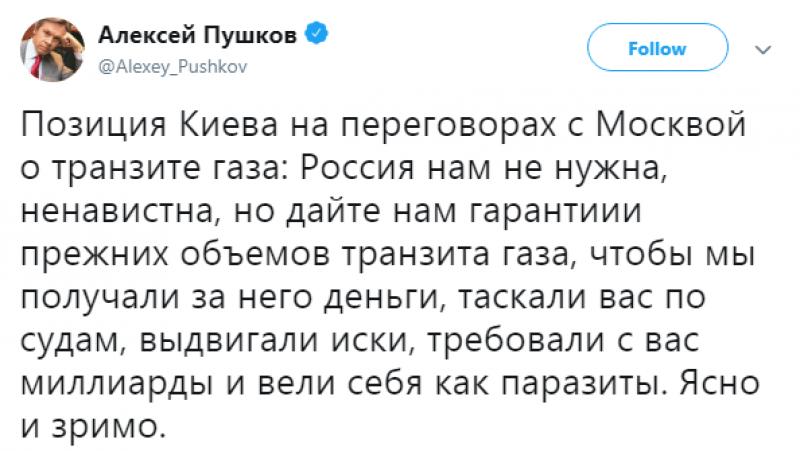 Ведут себя как «паразиты»: Пушков о позиции Киева на переговорах с Москвой по транзиту газа