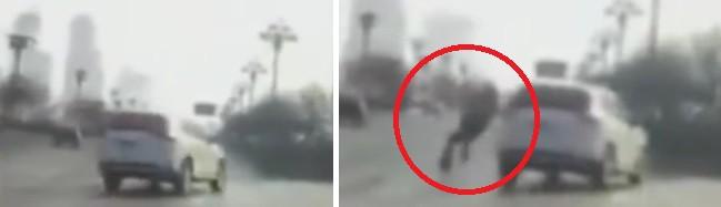 На видео засняли человека, внезапно выпавшего из ниоткуда на дорогу
