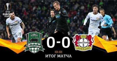 «Краснодар» сыграл вничью с «Байером» в рамках 1/16 Лиги Европы