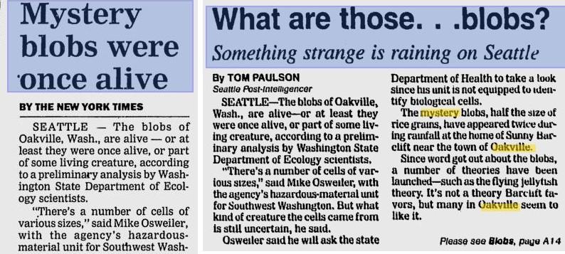 Загадка упавших с неба Оаквилльских сгустков, в которых нашли следы человеческой крови
