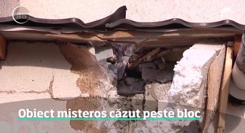Неопознанный кусок металла влетел в румынскую пятиэтажку