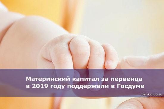 Материнский капитал за первенца в 2019 году поддержали в Госдуме