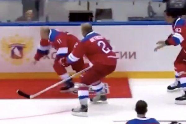 Падение Путина на льду попало на видео