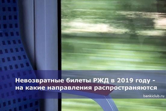 Невозвратные билеты РЖД в 2019 году — на какие направления распространяются