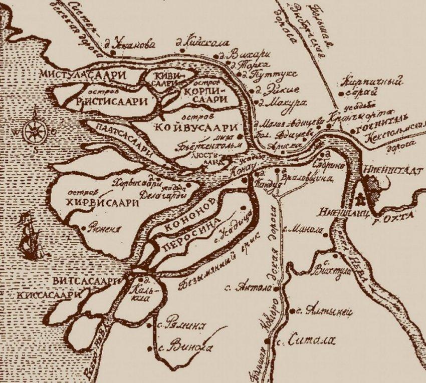 Карты Санкт-Петербурга и его окрестностей XVII — XVIII века