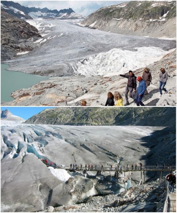 Таяние ледников: сравнение фотографий с разницей в 100 лет