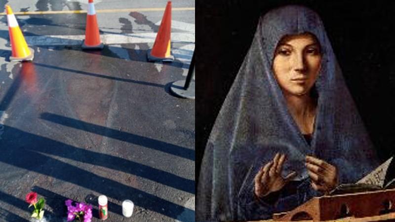 На асфальте появился образ Девы Марии, нарисованный мелом 13 лет назад