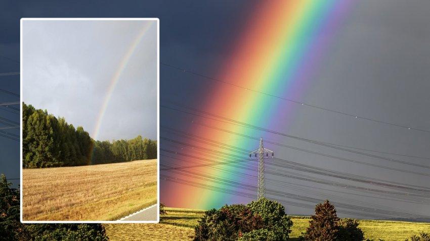 Мужчина показал на фотографии, как выглядит начало радуги